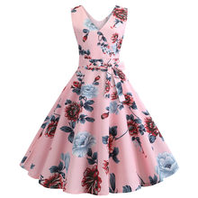 2019 Vintage Summer Dress for Women Robe Femme 50s 60s Retro Big Swing Casual V-neck Bowknots Knee-Length Party Dresses Vestidos(China)