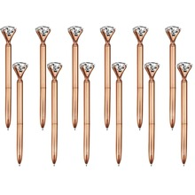 100 Pieces Big Crystal Diamond Pen Metal Ballpoint Pen Black Ink Ring Wedding Office Metal Ring Roller Ball Pen Rose Gold Gift