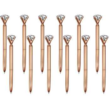 100 Pieces Big Crystal Diamond Pen Metal Ballpoint Pen Black Ink Ring Wedding Office Metal Ring Roller Ball Pen Rose Gold Gift - DISCOUNT ITEM  0% OFF All Category