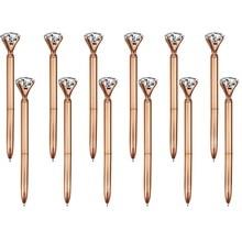 100 adet büyük kristal elmas kalem Metal tükenmez kalem siyah mürekkep yüzük düğün ofis Metal halka makaralı tükenmez kalem gül altın hediye