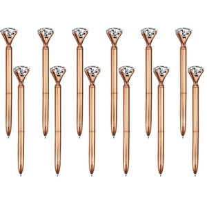Image 1 - 100 個ビッグクリスタルダイヤモンドペン金属ボールペン黒インクリングウェディングオフィス金属リングローラーボールペンローズゴールドギフト