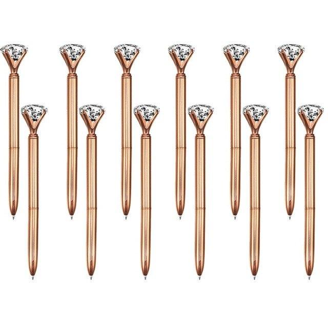 100 個ビッグクリスタルダイヤモンドペン金属ボールペン黒インクリングウェディングオフィス金属リングローラーボールペンローズゴールドギフト