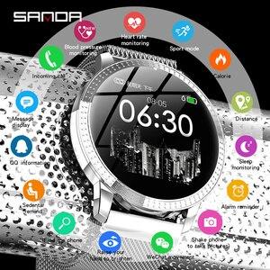 Image 1 - SANDA CF18 relojes de pulsera digitales inteligentes para hombre y mujer, reloj de pulsera Digital con control del ritmo cardíaco, llamadas y recordatorios