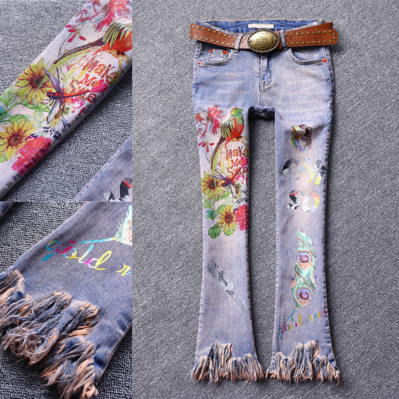 2019 new fashion women print skinny casual tassel flare pants   jeans   lady painted printed beautiful   jeans   plus size