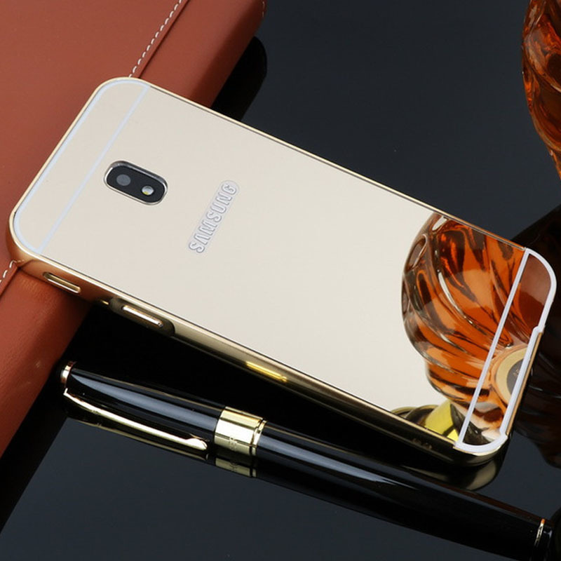 Galleria fotografica For Samsung Galaxy J5 2017 Case Mirror Aluminum Metal Bumper Acrylic PC Back Cover For Samsung Galaxy J5 Pro Case Luxury J530