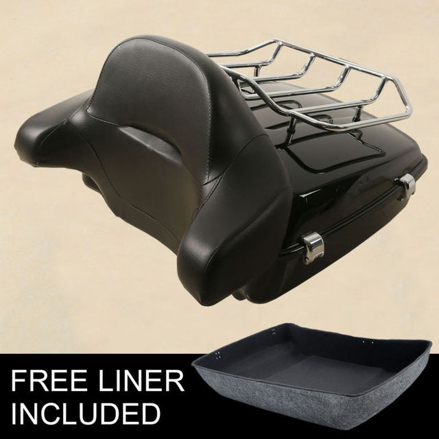 Chopped Pack Trunk W/ Latch Luggage Rack + Backrest For Harley Touring Road King Street Electra Glide FLHR FLHX FLTR 14 19