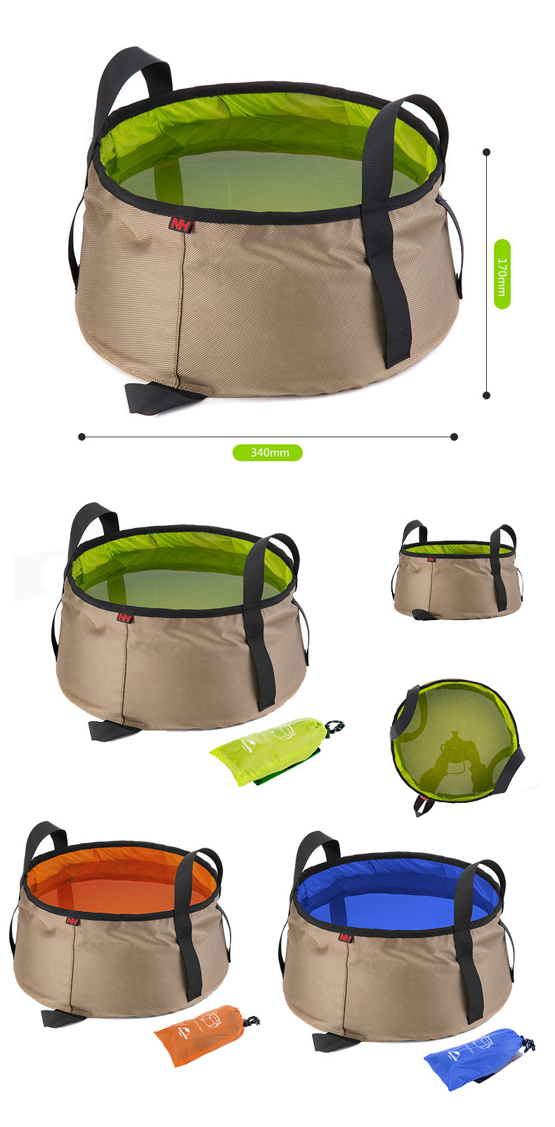10L//16L Folding Bucket Collapsible Water Storage Bags Washbasin Camping Fishing