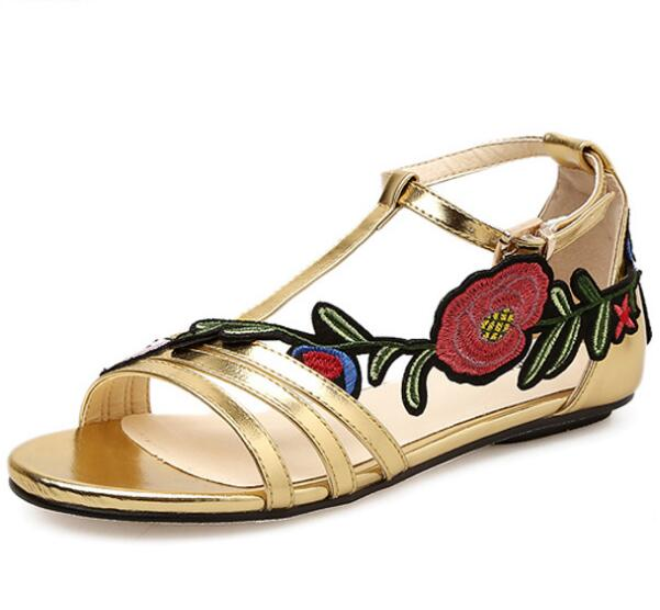 shiny zapatos mujer women flat summer sandals flats ladies shoes woman open toe flower enbroidery girls bling chaussure PL180123 instantarts women flats emoji face smile pattern summer air mesh beach flat shoes for youth girls mujer casual light sneakers