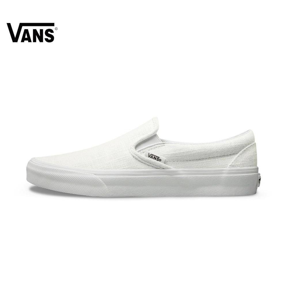 Authentic Vans Sneakers Female White Pink Slip-On Sports Skateboarding Shoes Classic Canvas Vans Women Shoes Rubber Sneakers