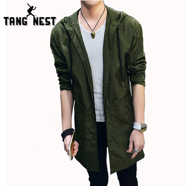 Tangnest gabardina moda 2017 summer long cazadora con capucha capa ocasional delgada masculina 4 colores clásicos tamaño asiático xxl mwf290