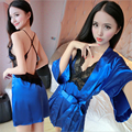 Women Sexy Sling skirt Lace side Bare back temptation Spring summer robe Solid color High-end home clothing Two-piece suit
