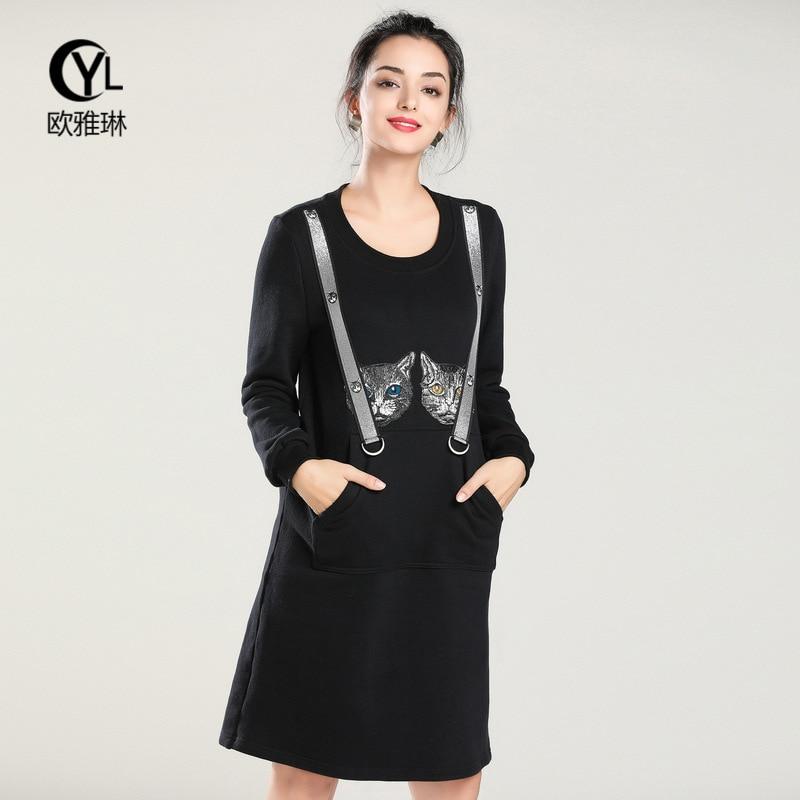 Brève 2018 Nouvelle Automne Vf4901611 Mince Vêtements Robe Lettre Noir Pour Et Mode D'hiver Plus 5xl Taille Femmes Arrivée HrH7Bq