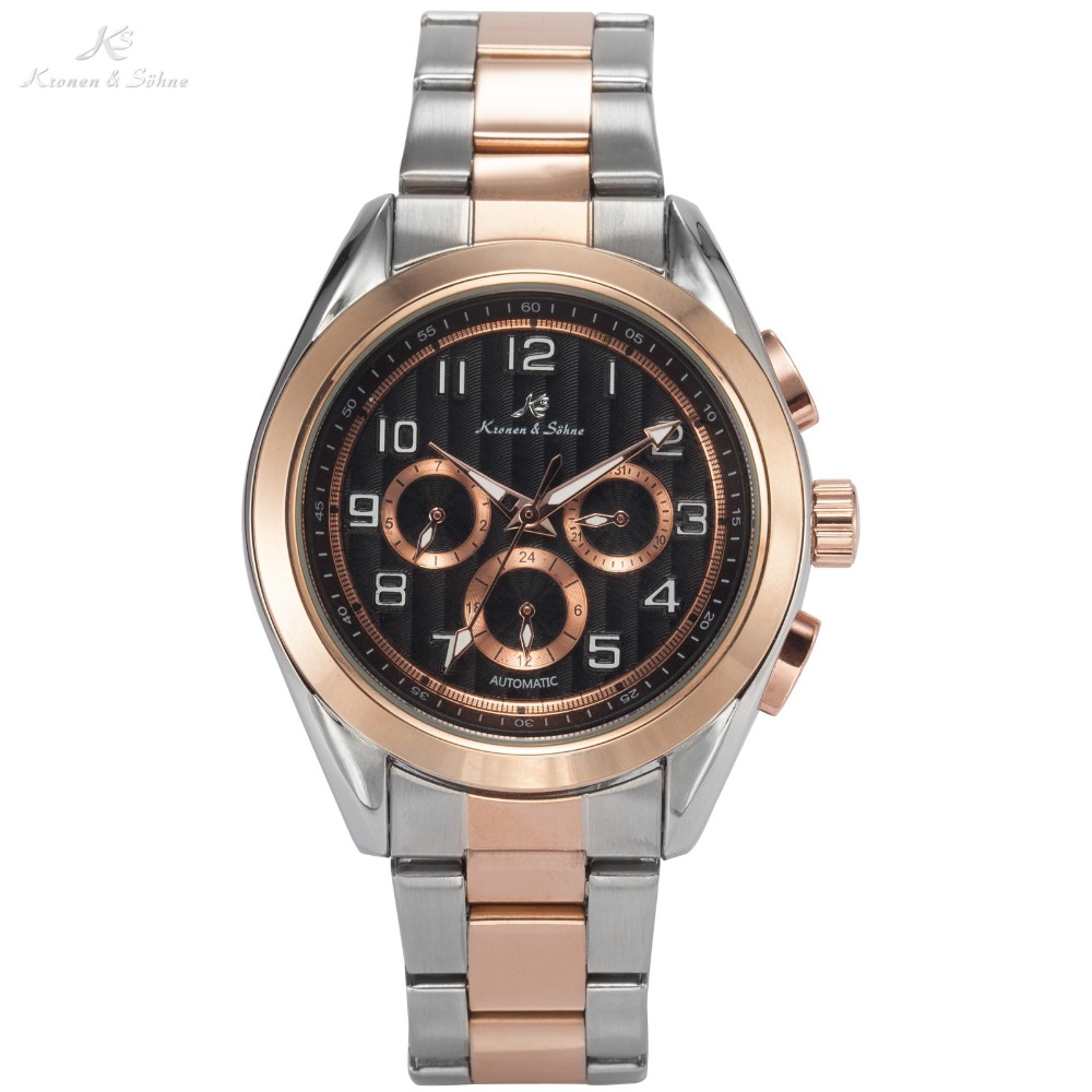 KS Brand 6 Hands Auto Date Day 24 Hours Display Male Rose Gold Stainless Steel Band Clock Men Automatic Mechanical Watch / KS291 ks black dial rose gold stainless steel case date display automatic mechanical fluorescence hands leather strap men watch ks234