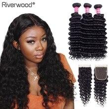 Brazilian Deep Wave Bundles With Closure Double Weft Remy Human Hair Weave Riverwood 3 Bundles With Closure Natural Black