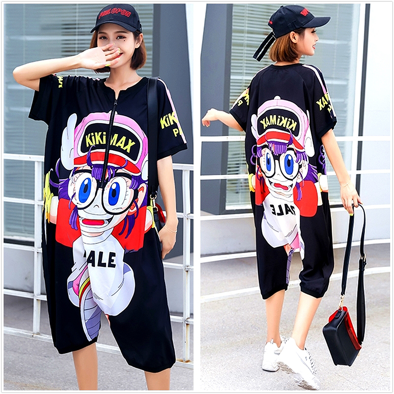 Harajuku High Street Cartoon Printed Jumpsuits Women Hip Hop Design Summer Short Sleeve Loose Jumpsuit One Piece Overalls SL445(China)