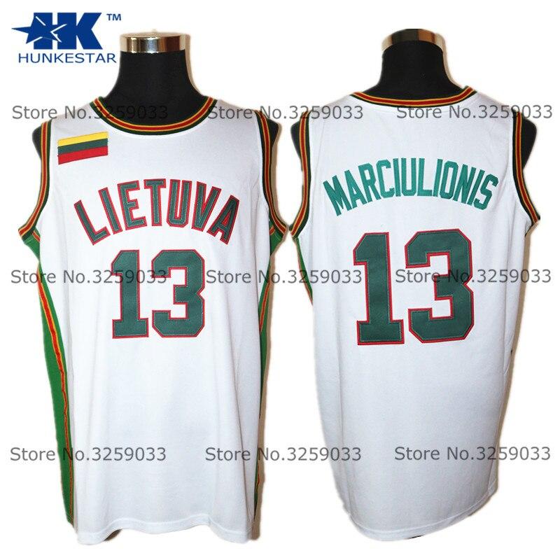Mens Sarunas Marciulionis Jersey #13 TEAM lietuva Vintage Throwback Basketball Jersey MAN Basket Uniforms Stitched Shirts все цены