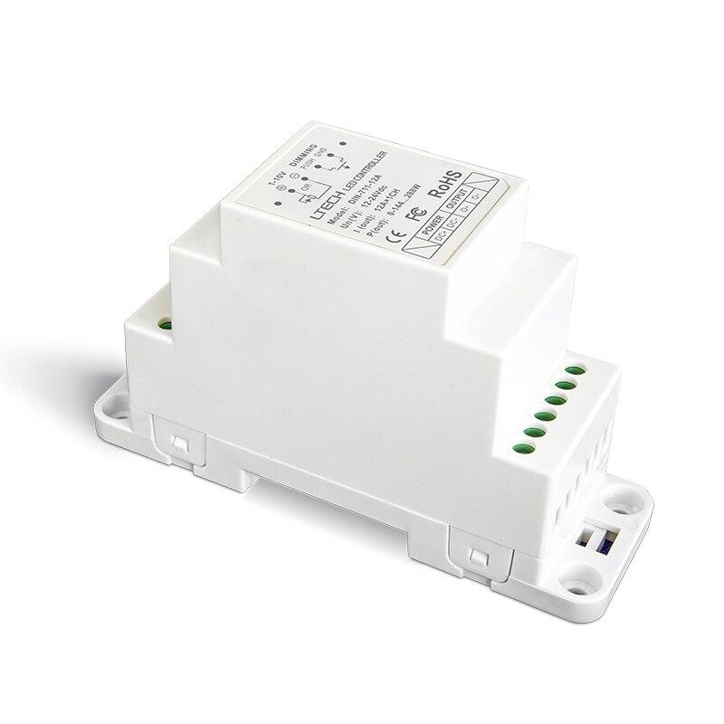 LTECH DIN-711-12A 0-10V 1-10V LED dimming driver;DC12-24V input;12A*1CH output DIN Rail dimmable 0-10V Led driver din 411 12a dali to pwm cv dimming driver din rail screw dual use dc12 24v input 12a 1ch 0 10v 1ch output