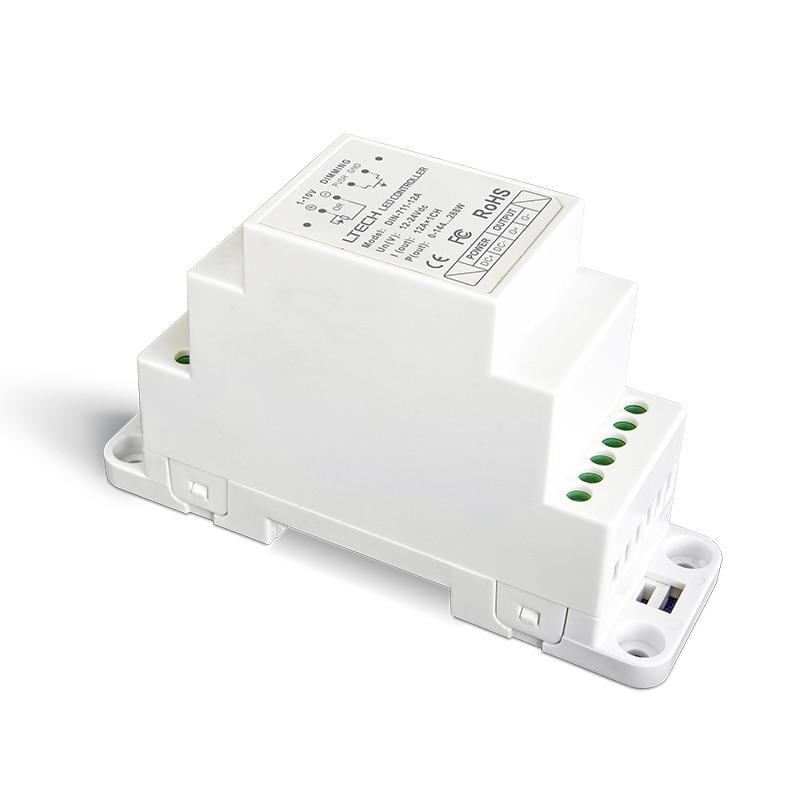 LTECH DIN-711-12A 0-10 V 1-10 V LED pilote de gradation; entrée de DC12-24V; 12A * 1CH sortie DIN Rail dimmable 0-10 V LED pilote