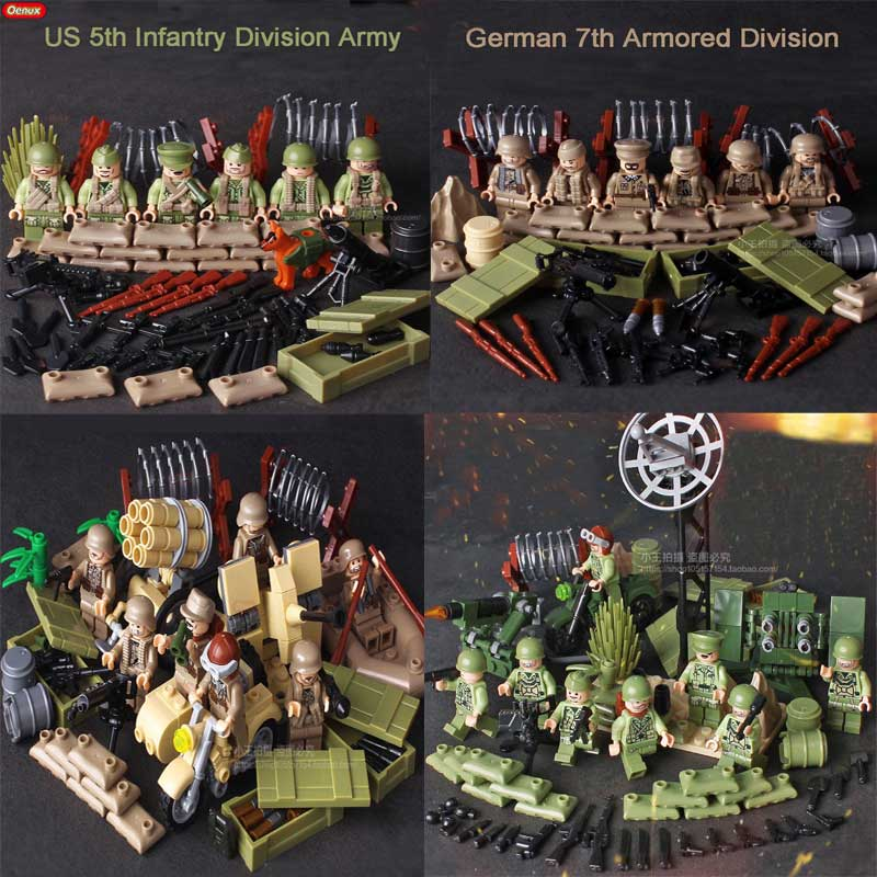 Oenux WW2 Tunisia Mini Military US German Army Figure Building Block Classic M59 Cannon Multiple Rocket Launcher Model Kids Toys цена