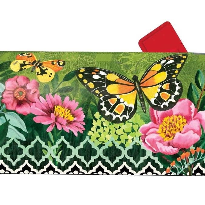 Magnet Works Butterflies with Pink Flowers Magnetic Mailbox Wrap Cover flowers butterflies pattern waterproof shower curtain