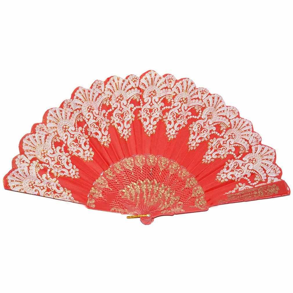 Ventilador de mano plegable de plástico de verano compacto de estilo español, regalos de bolsillo de fiesta de baile chino, regalos de boda con estampado Floral