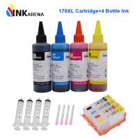 INKARENA 178XL Refill Cartridge Replacement for HP 178 XL Photosmart 7515 B010b B209 B210 3070A 3520 Printer + 100ml Dye Ink