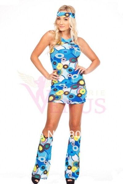 hot selling Retro Happy Girl Go go Costume Seventies 70er Flower ...