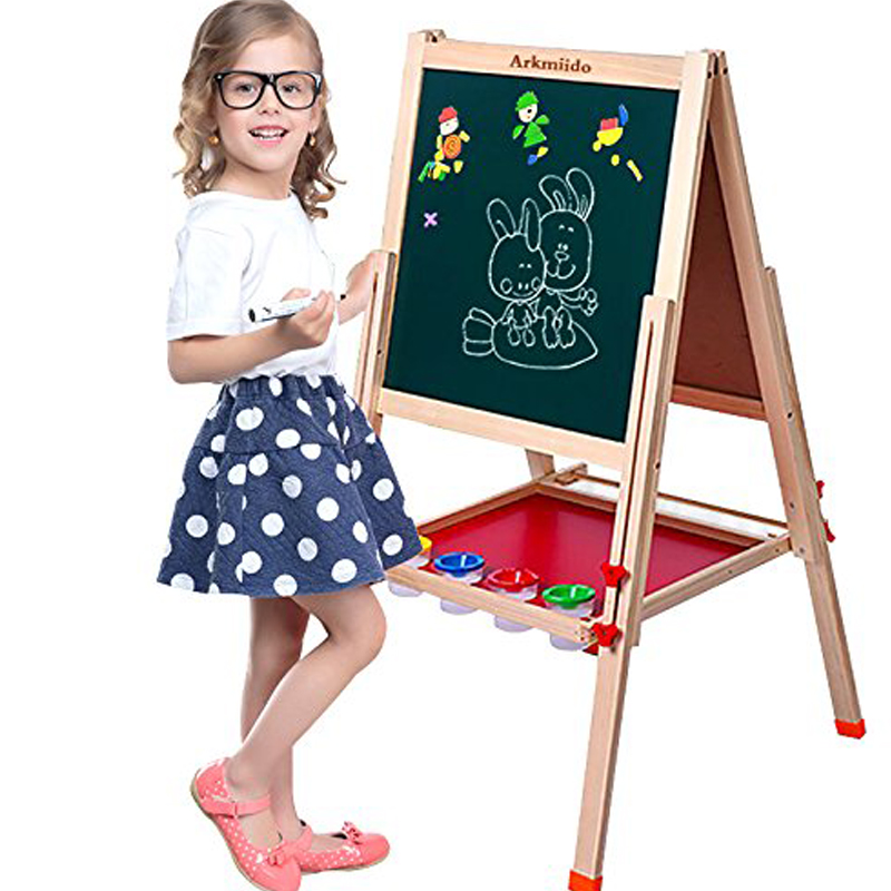 все цены на Kid's Art Wooden drawing board Double-sided Easel Drawing Toys for Children Adjustable Whiteboard Chalkboard Educational Toys