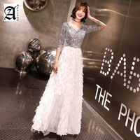 New Fashion 2019 Half Sleeve a Line Prom Party Dress Sequined Top White Evening Gowns Robe De Soiree Evening Dresses