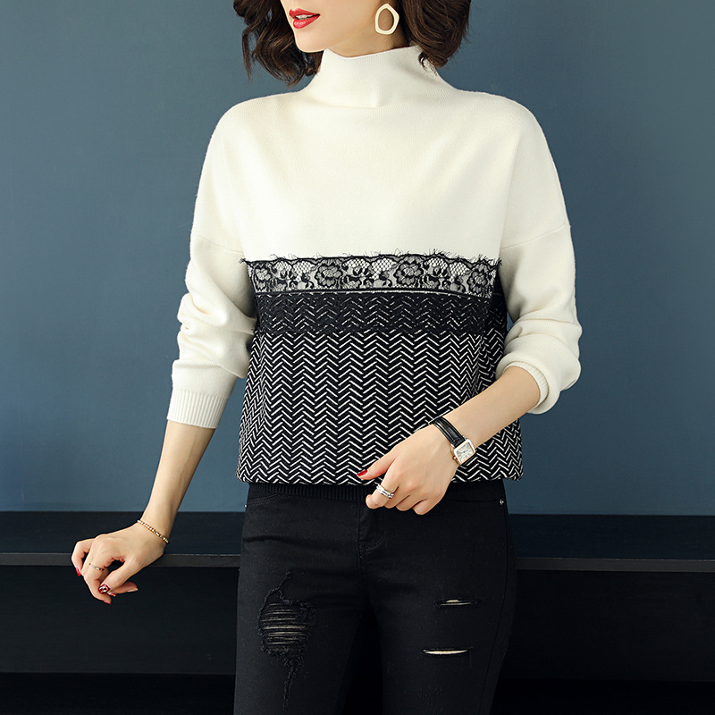 High Elastic Winter Autumn Patchwork Lace Sweater Women Loose Turtleneck Sweater KoreanThick Warm Women Sweater and Pullovers in Pullovers from Women 39 s Clothing