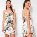 Vestidos de Moda de Verano 2015 Vestidos de Las Mujeres Sexy Elegante Correa de Espagueti del Partido Backless Vestido de Estampado Floral 22