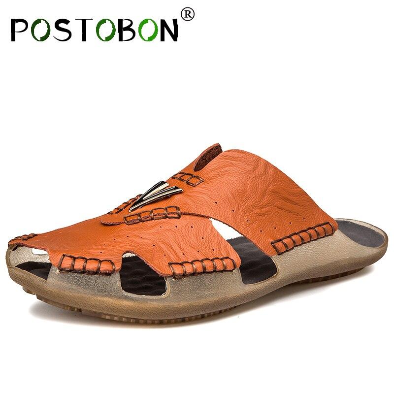 Postobon Klassische Männer Weiche Sandalen Komfortable Männer Sommer Schuhe Leder Sandalen Große Größe 38-48 Männer Römischen Komfortable Männer Sommer Letzter Stil
