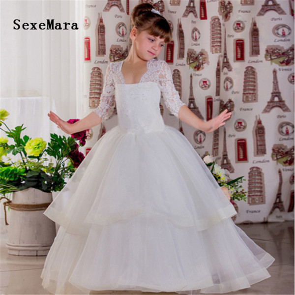 Gorgeous New Ivory White Flower Girls Dresses for Wedding Long Sleeve V Neck Tiered Organza Little Girls Birthday Party Gown sky blue tiered see through design plain v neck curve hem camis