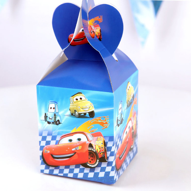 6pcs Lot Candy Cake Box For Kids Princess Cars Theme Birthday Party Baby Shower