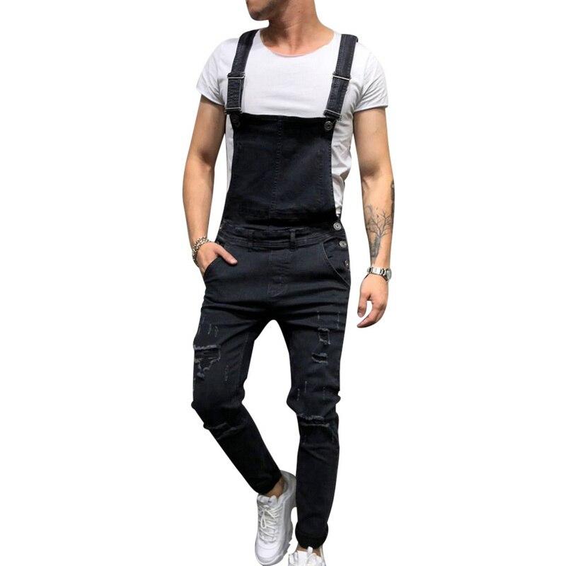 Praktisch Verstelbare 2019 Mode Mannen Ripped Jeans Jumpsuits Broeken Verontruste Hole Denim Bib Overalls Skinny Slim Broek Maat S-xxl