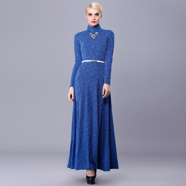 ca9aac0b0da7 Spring autumn woman vintage turtleneck maxi sweater dress floral ankle  length knitted dress winter basic dress plus size FF346
