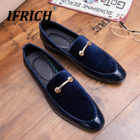 Spring Autumn Men Business Dress Shoes Round Toe Shoe for Wedding Low Hell Black Blue Slip On Party Shoes Man Luxury Casual Shoe