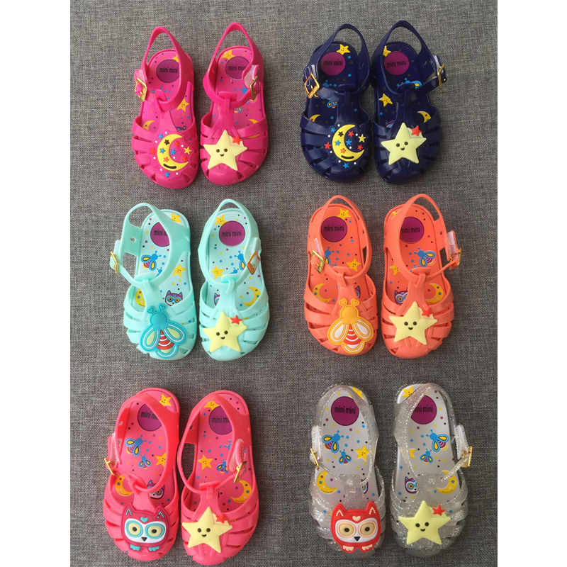Children's Shoes Stars Moon Sandals Melissa Jelly Cartoon Shoes for Girls Kids Children Hollow Out Toddler Sandals 13.5-16.5cm