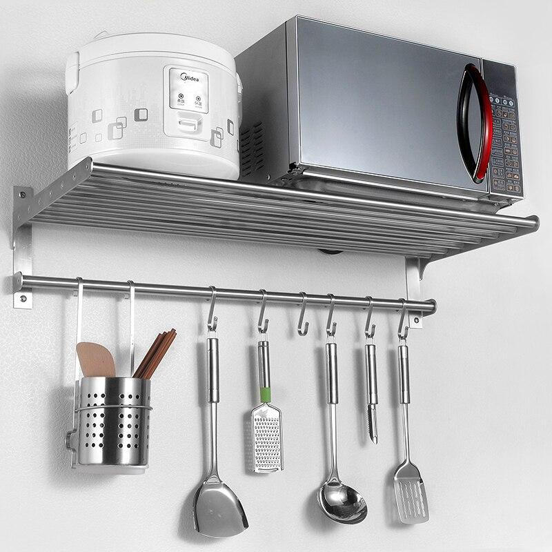 Настенная кухонная полка из нержавеющей стали 304, приправа, микроволновая печь, бытовая техника, стеллаж для хранения LU5038