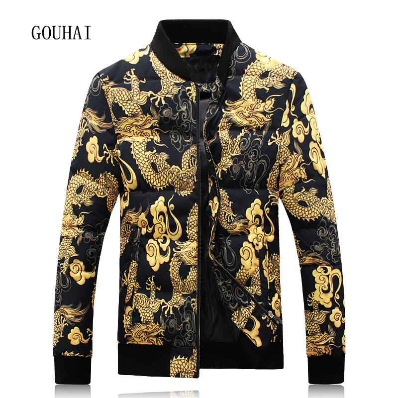 Casual Print Winter Jacket Men White Duck Down Jacket Men Plus Size Fashion Short Warm Coat Man Feather Jacket Men Parka Homme
