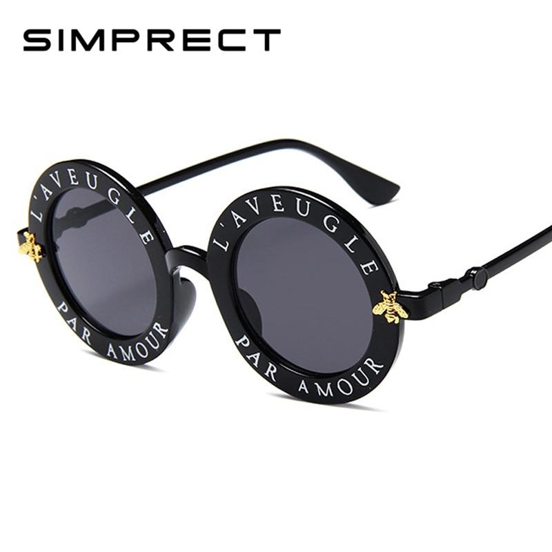 5ce5653ecd2a5 SIMPRECT Black Round Sunglasses Letters English Women 2019 Brand Designer  Men Sun Glasses Mirror Retro Lunette De Soleil Femme