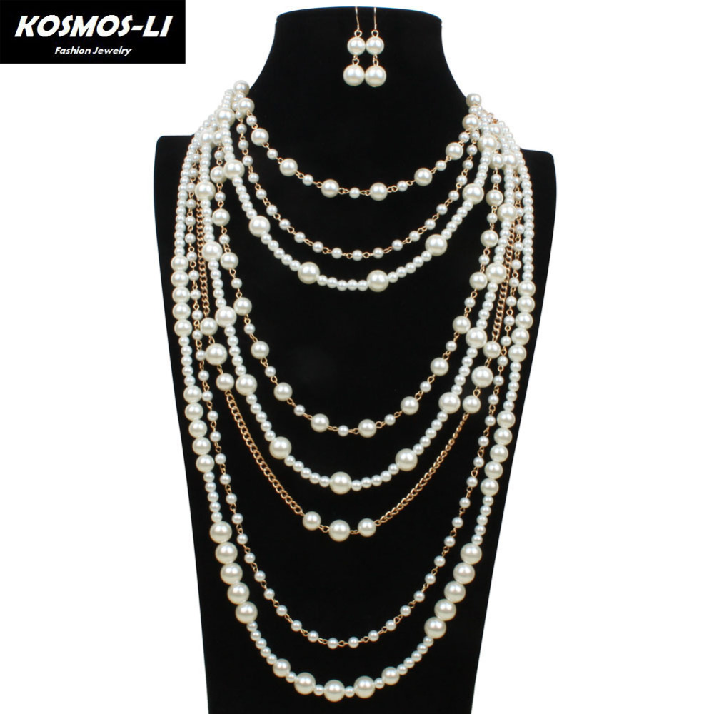 Chain Necklaces Multilayer Plastic Pearl Beads