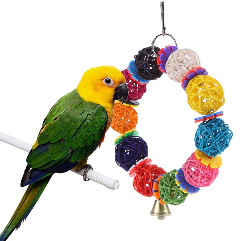 Parrot Ball Colorful Toys Vine With Bell Bite Climb Chewing Swing Hanging Decor Bird Cage Accessory
