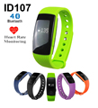 ID107 Bluetooth Smart Bracelet smart Heart Rate band Monitor Wristband Fitness Tracker for Android iOS Smartphone PK mi band 2