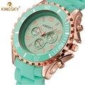2016 nuevo lujo marca kingsky relojes vestido de la manera de las mujeres señora caramelos banda de silicona pulsera de cuarzo ocasional reloj del relogio feminino
