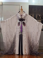 Brambles And Rose Purple Grey Color Chiffon Ink China Fairy Costume Chinese Traditional Hanfu Female Costume