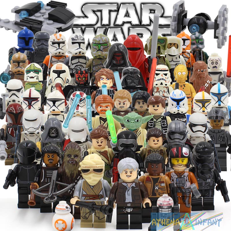 Star Wars 7 Action Figures The Force Awakens Clone Storm Trooper Yoda Darth Vader Building Blocks