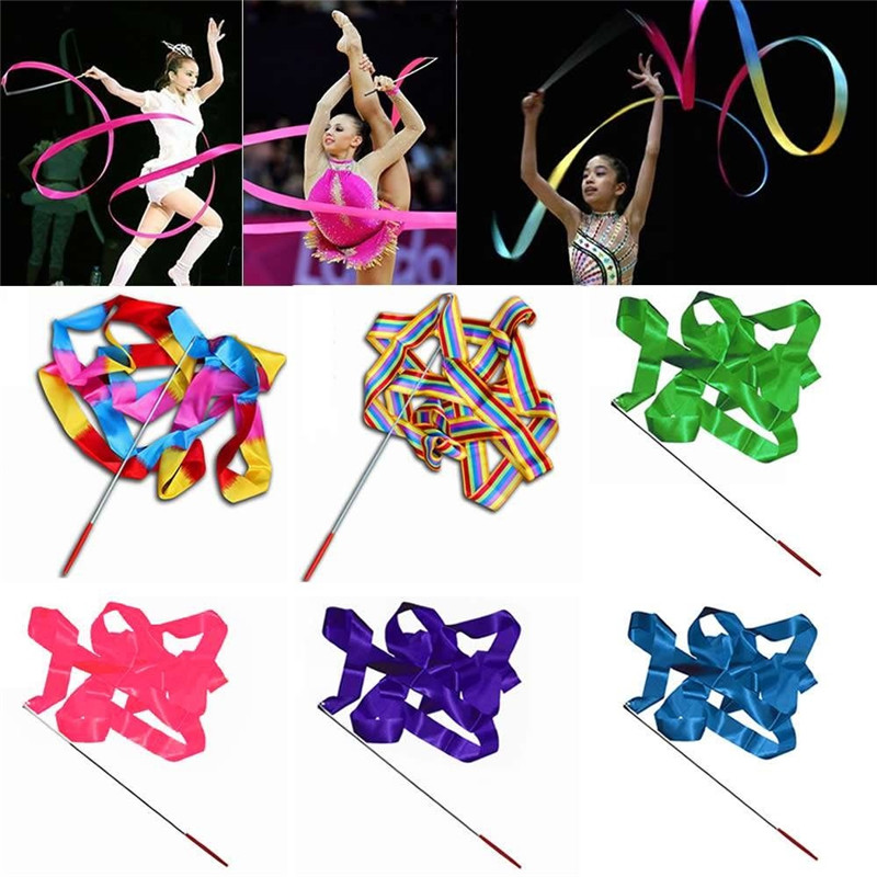4M Colorful Gym Ribbons Dance Ribbon Rhythmic Art Gymnastic Ballet Streamer Twirling Rod Stick For Gym Training Professional