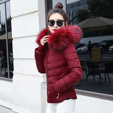 chu mark Women Winter Jacket Hooded With Big Fur Collar Female Coat Long Parkas