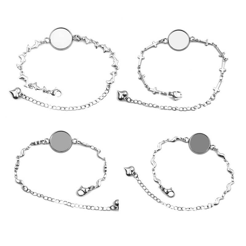 5pcs Stainless Steel Blank Adjustable Bracelet Bangle Base Fit12/14/16/18/20mm Cabochon Settings Cameo Tray Diy Jewelry Making
